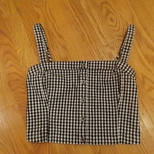 NWOT Hollister Crop Top B&W Checks Size Small